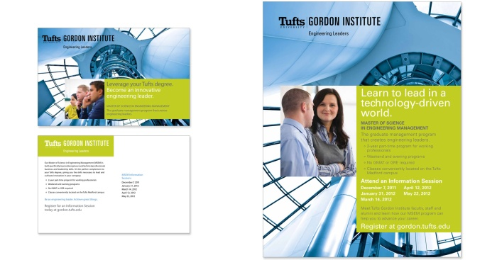 A poster and postcard for Tufts Gordon Institute.